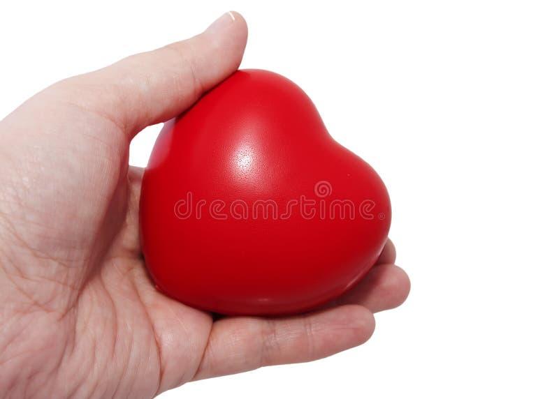 Mão que prende um coração imagem de stock