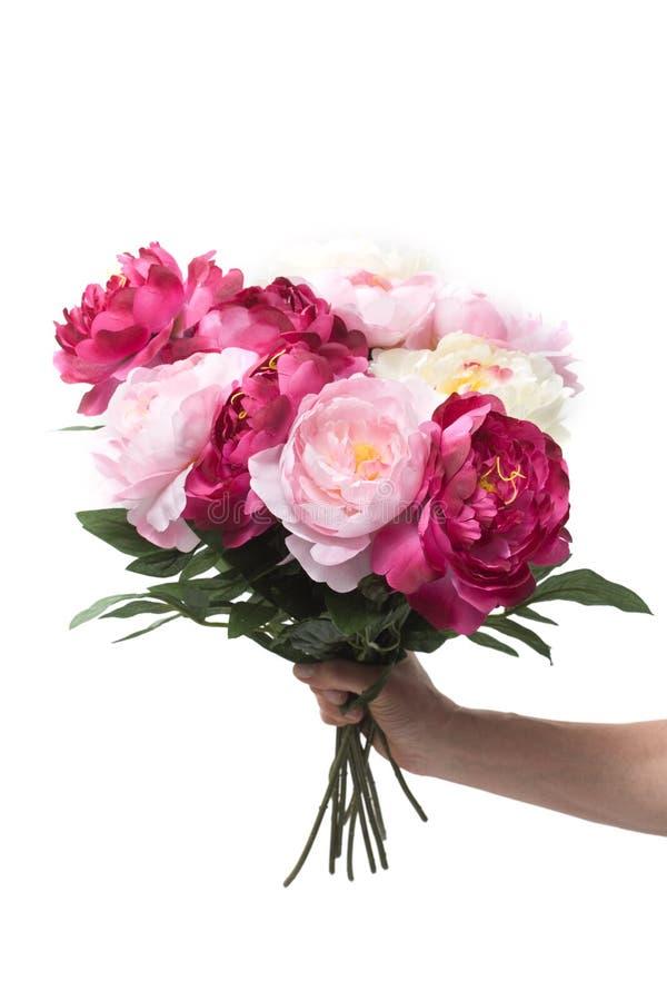 Mão que prende um grupo de flores fotografia de stock