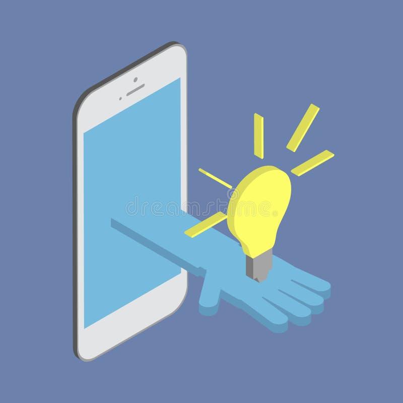 Mão que prende uma ampola Ideia do negócio, tecnologia inovativa ilustração stock