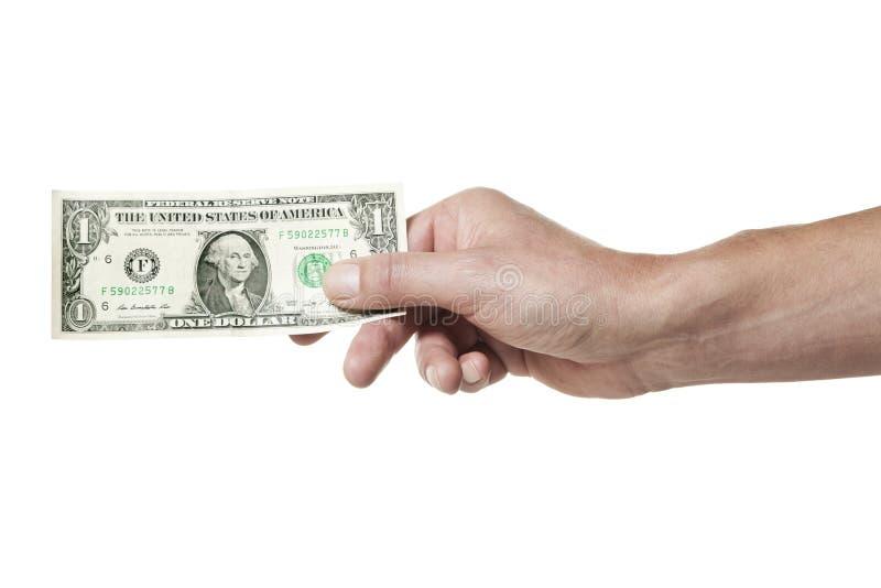 Mão que prende uma conta de dólar fotos de stock royalty free