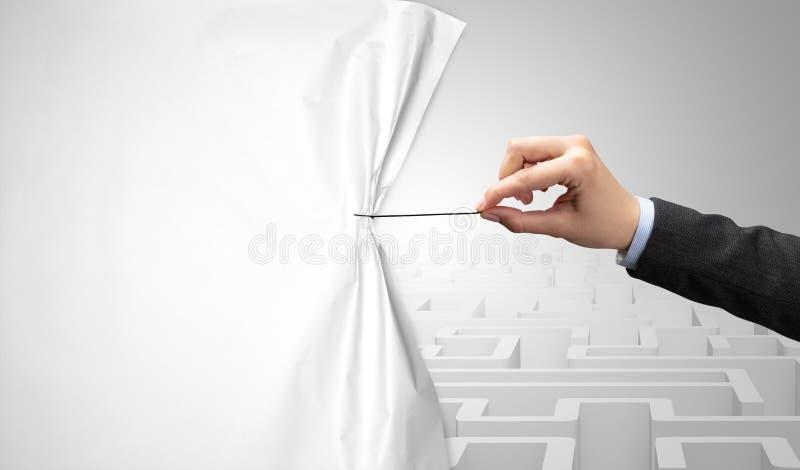 Mão que puxa a cortina de papel imagem de stock royalty free