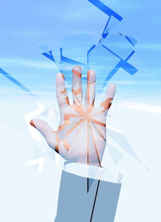Mão que quebra o vidro imagem de stock royalty free