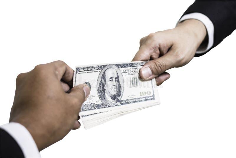 Mão que recebe o dólar do dinheiro da mão do homem de negócios Isolado no fundo branco imagens de stock royalty free