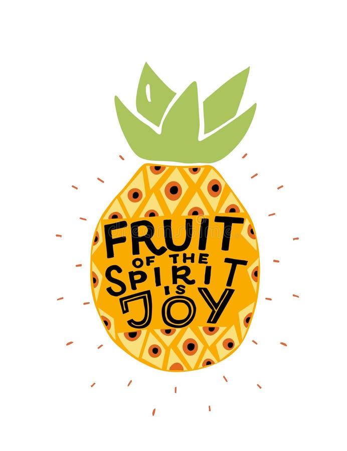 A mão que rotula o fruto do espírito é alegria feita no abacaxi ilustração stock