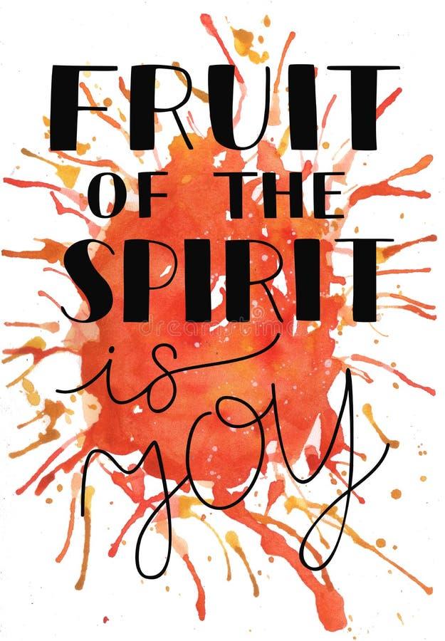 A mão que rotula o fruto do espírito é alegria no fundo da aquarela ilustração do vetor