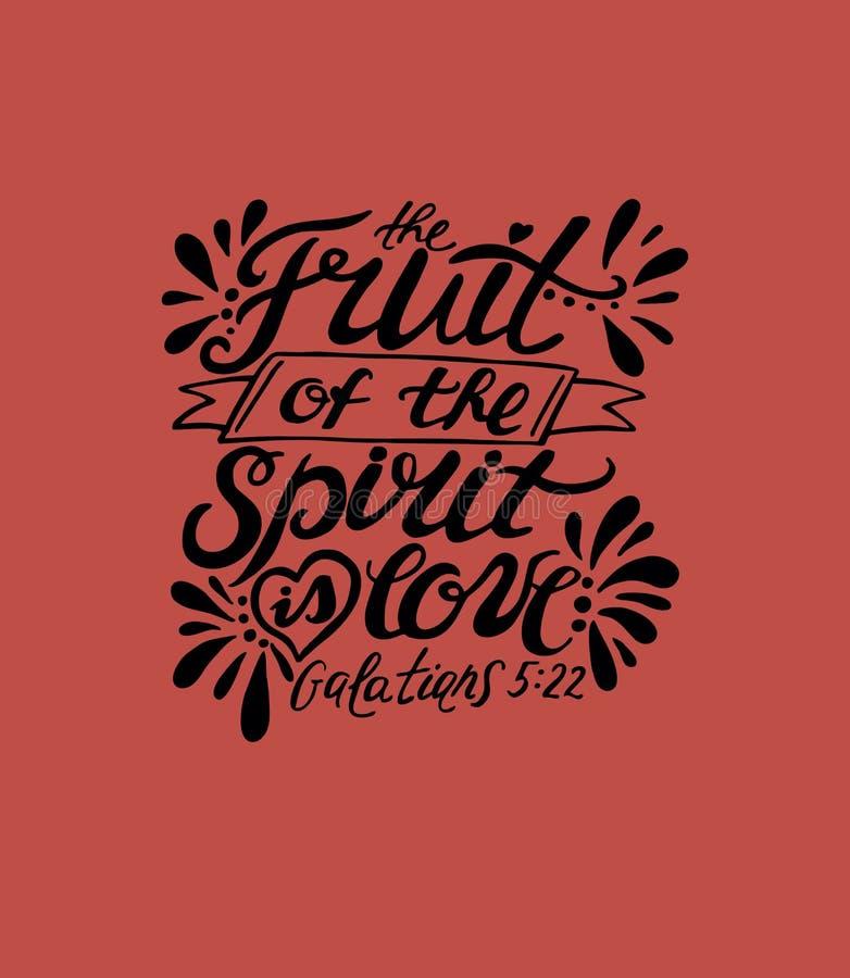 A mão que rotula o fruto do espírito é amor no fundo vermelho ilustração royalty free