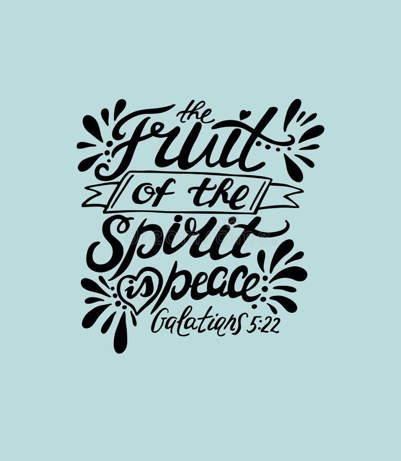 A mão que rotula o fruto do espírito é paz ilustração do vetor