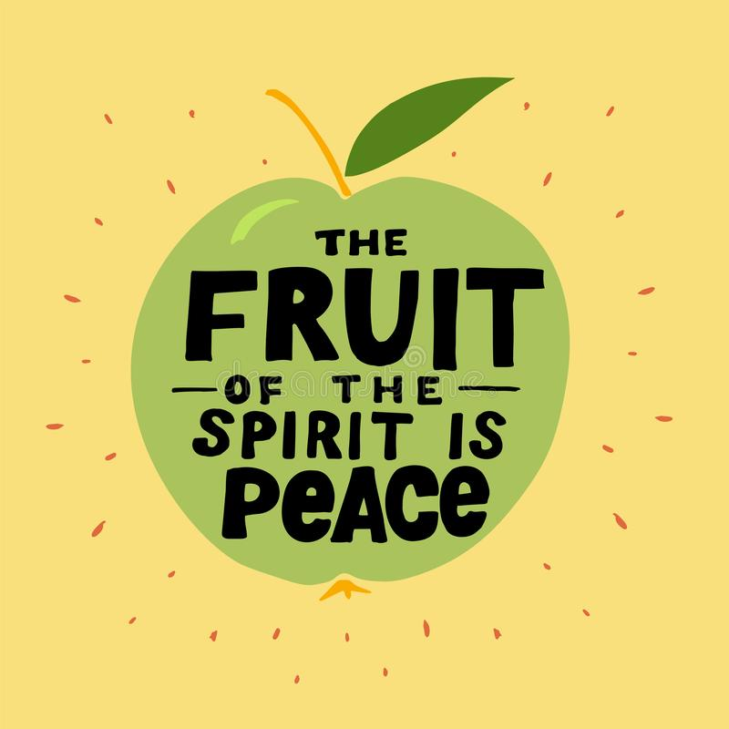 A mão que rotula o fruto do espírito é paz feita na maçã ilustração stock