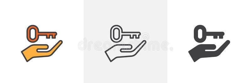 Mão que sustenta o ícone chave ilustração royalty free