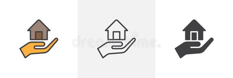 Mão que sustenta o ícone da casa ilustração royalty free