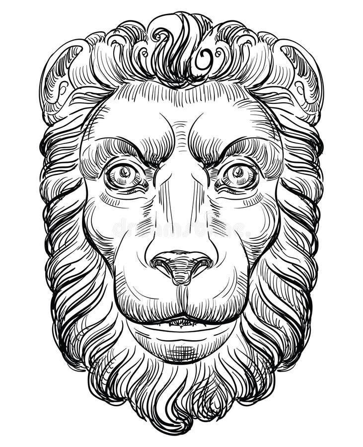 Mão que tira lion-2 ilustração stock
