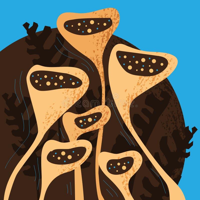 Mão que tira seis flores fantásticas, folhas da selva com textura pastel no fundo azul e marrom ilustração stock