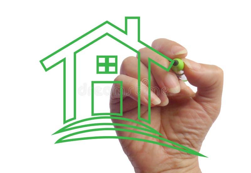 Mão que tira uma imagem da imagem da foto da casa ilustração do vetor