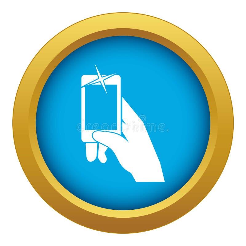 Mão que toma as imagens no vetor azul do ícone do telefone celular isoladas ilustração do vetor