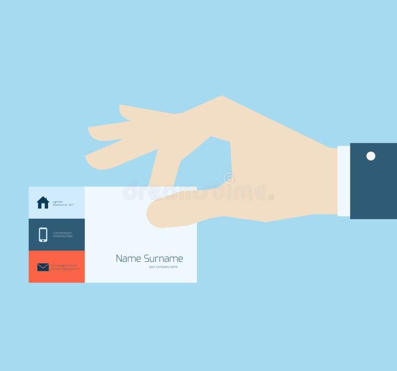 Mão que toma o cartão ilustração do vetor