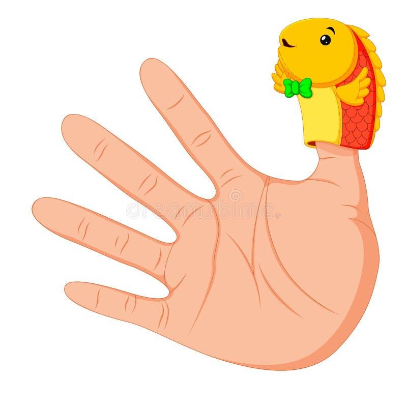 Mão que veste um fantoche bonito do dedo de peixes no polegar ilustração do vetor