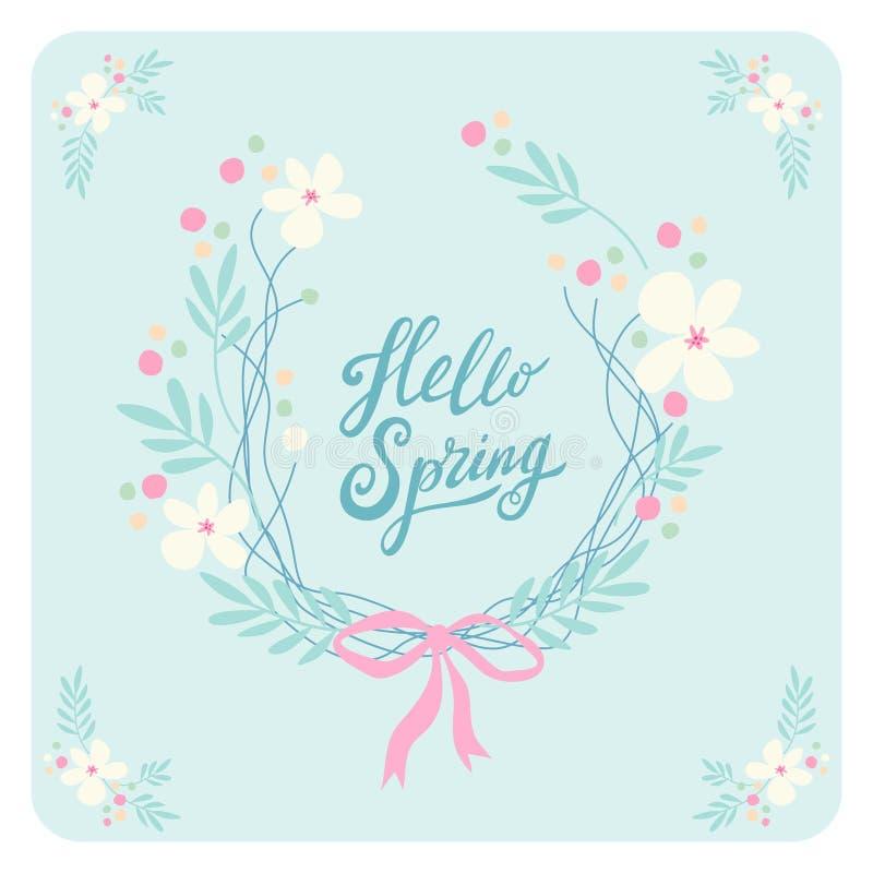 Mão rústica bonito a grinalda tirada da Páscoa da mola floresce com mola do texto escrito da mão olá! ilustração stock