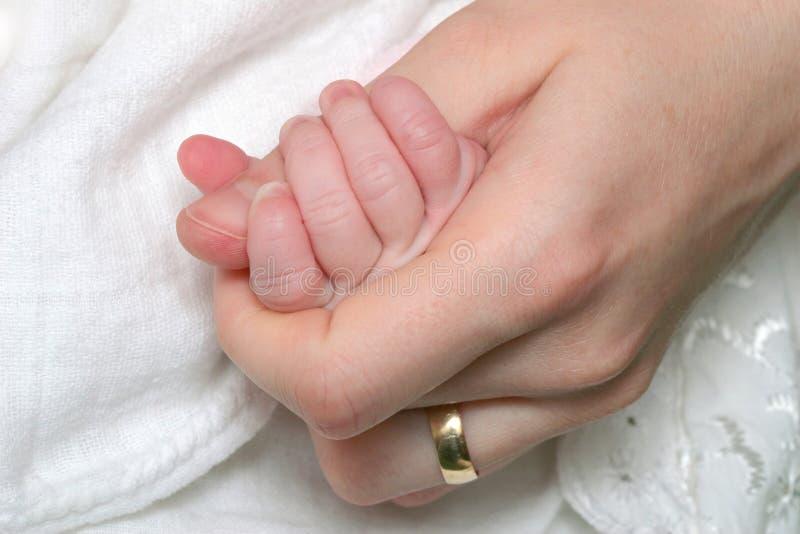 Mão recém-nascida do bebê foto de stock