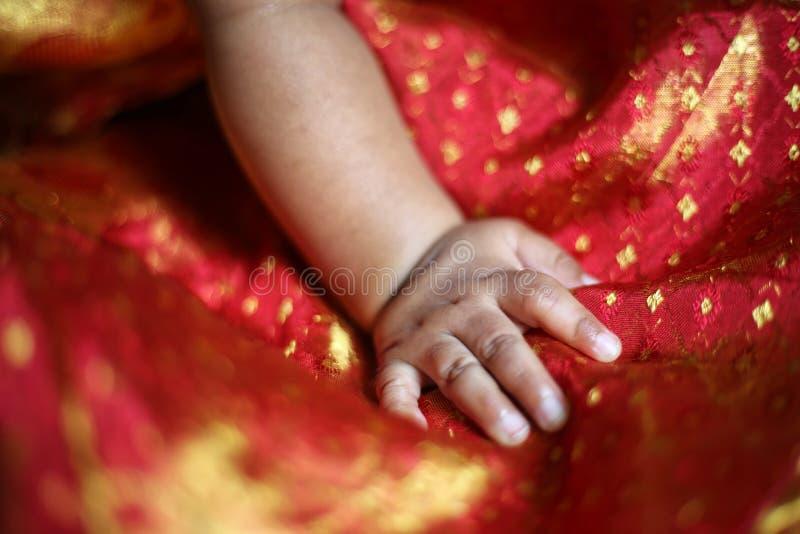 Mão recém-nascida do bebê do bebê imagem de stock