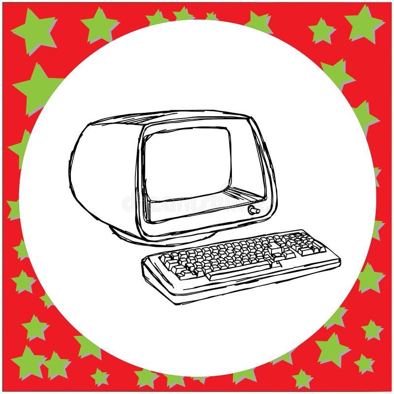Mão retro do esboço da ilustração do vetor do computador do vintage tirada ilustração royalty free