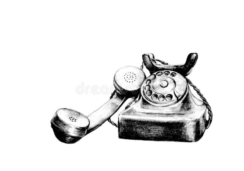 Mão retro telefone tirado ilustração royalty free