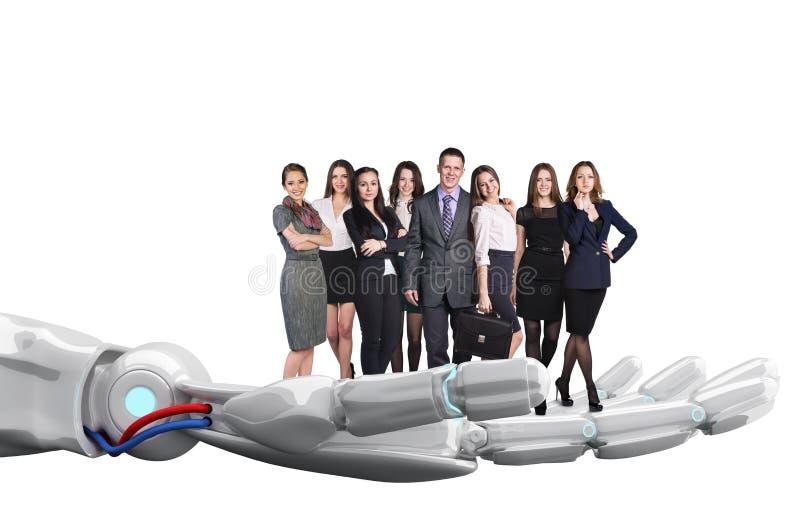 A mão robótico guarda o grupo de executivos rendição 3d imagens de stock