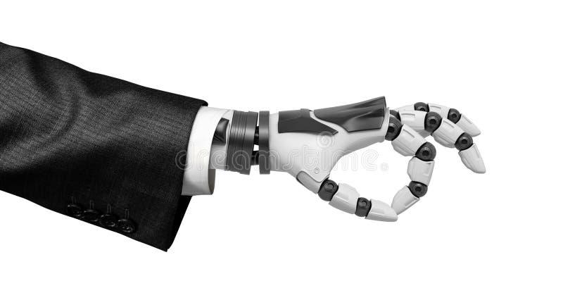 A mão robótico na exibição do terno de negócio aprova o símbolo isolada no fundo branco ilustração stock