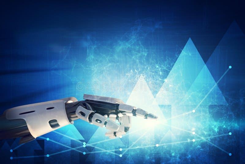 Mão robótico que aponta em gráficos e em diagramas no fundo tecnologico ilustração royalty free