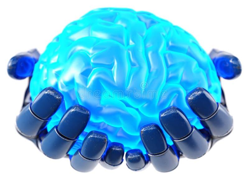 Mão robótico que guarda o cérebro humano ilustração do vetor