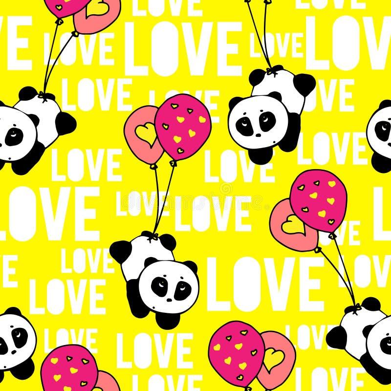 Mão romântica surpreendente as pandas tiradas e a tipografia do amor da palavra projetam o vetor sem emenda do teste padrão ilustração do vetor
