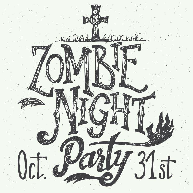 Mão-rotulação do partido da noite do zombi ilustração stock