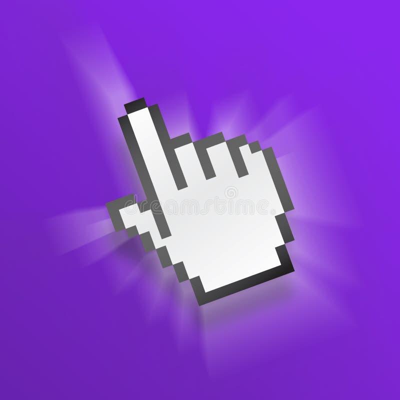 Mão roxa do pixel do rato ilustração do vetor