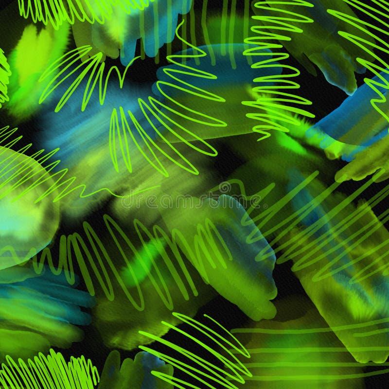 A mão 80s e 90s geométrica abstrata tira o teste padrão no fundo preto Teste padrão da pintura da escova da aquarela Teste padrão ilustração royalty free
