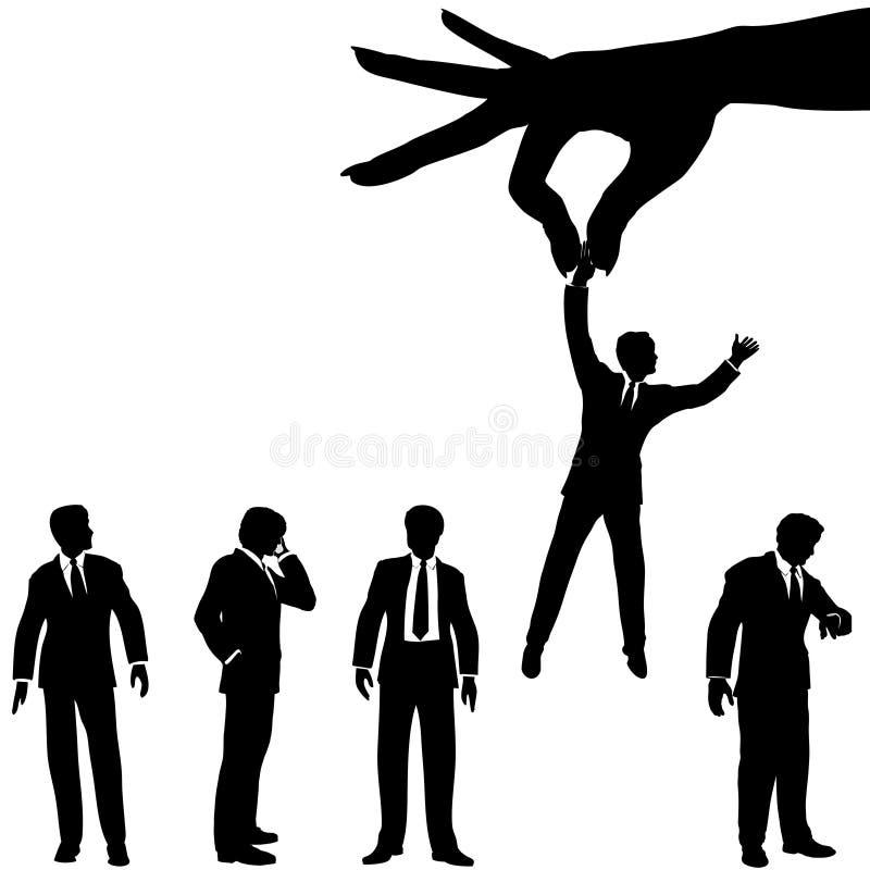 A mão seleciona o grupo da silhueta do homem de negócio