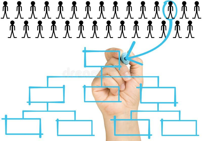 Mão Selecting Candidato Organigrama Corp foto de stock royalty free