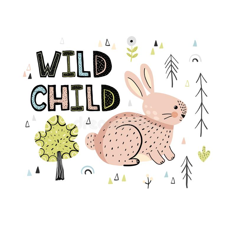 Mão selvagem da criança tirada rotulando as citações priny ilustração do vetor