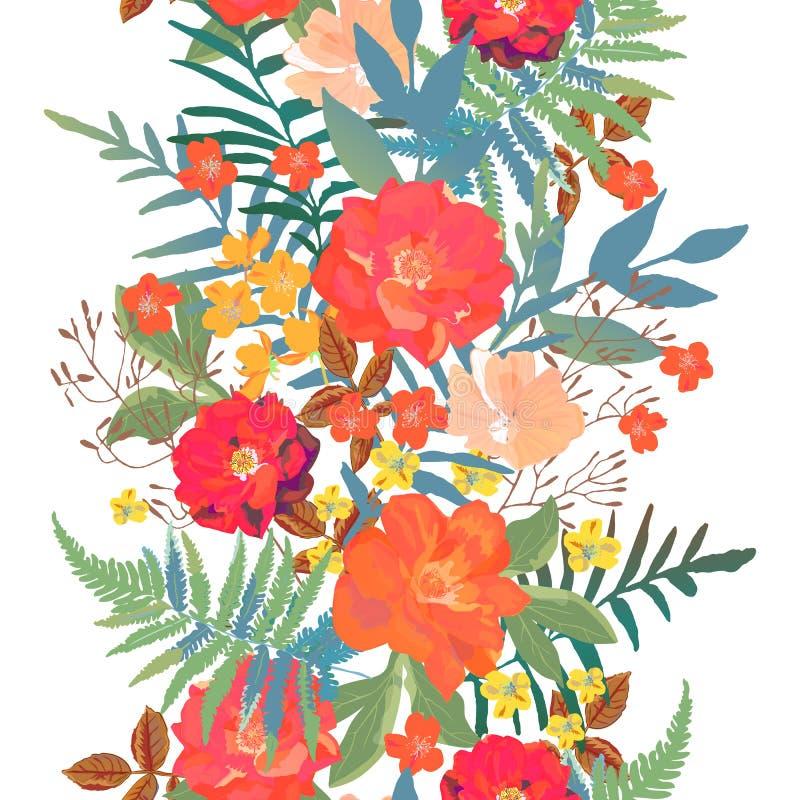 Mão sem emenda da beira das flores tirada para o projeto da cópia Modo de vetor ilustração stock