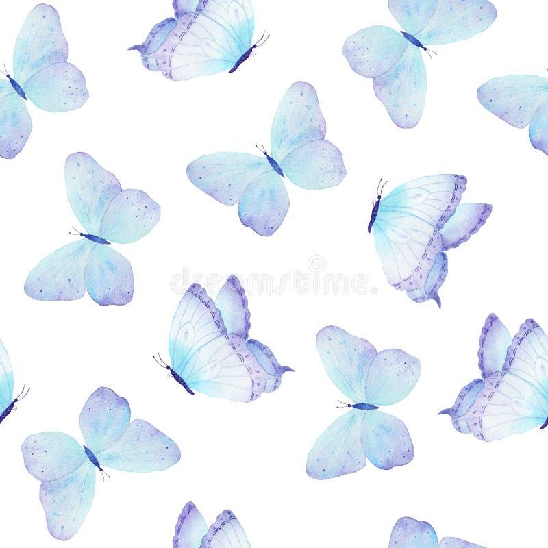 Mão sem emenda do teste padrão da borboleta da aquarela tirada ilustração do vetor