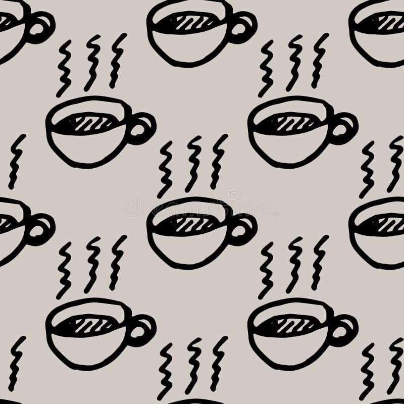 Mão sem emenda do teste padrão tirada uma garatuja da xícara de café ?cone do estilo do esbo?o Elemento da decora??o Isolado no f ilustração do vetor