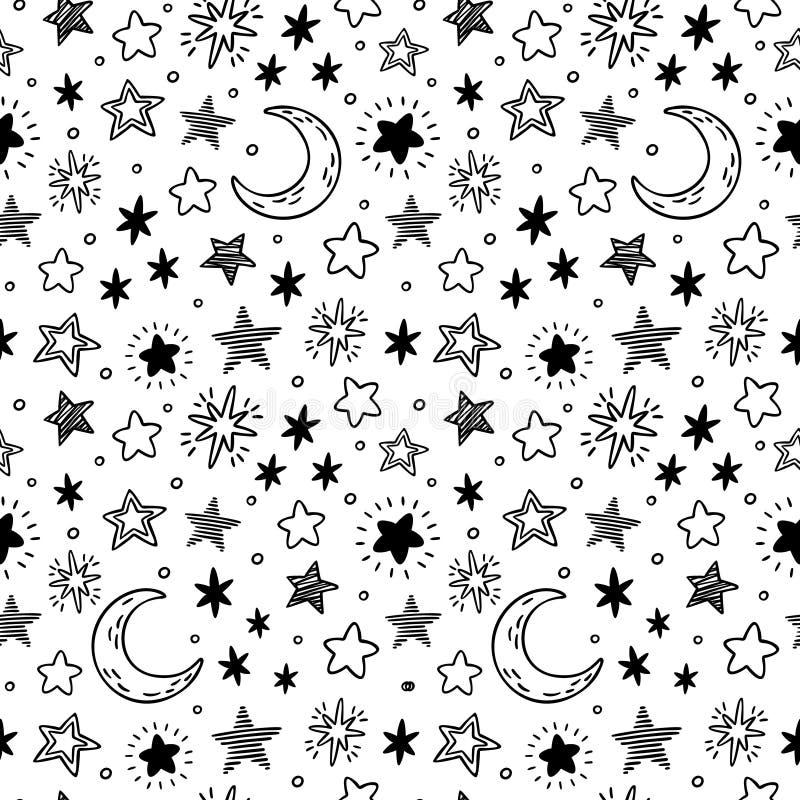 Mão sem emenda estrelas tiradas Esboço estrelado do céu, estrela da garatuja e ilustração do teste padrão do vetor da noite ilustração stock