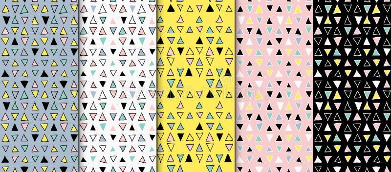 Mão sem emenda geométrica abstrata grupo tirado do teste padrão Texturas modernas da carta branca Fundos geométricos coloridos da ilustração do vetor