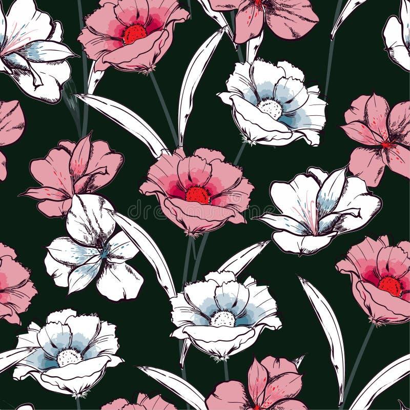 Mão sem emenda na moda do teste padrão tirada para esboçar flores de florescência na repetição floral do jardim no projeto do vet ilustração do vetor