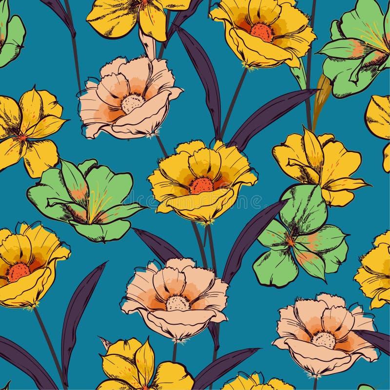 Mão sem emenda retro do teste padrão tirada para esboçar flores de florescência na repetição floral do jardim no projeto do vetor ilustração do vetor
