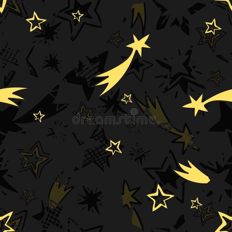 Mão sem emenda teste padrão de estrela tirado ilustração stock
