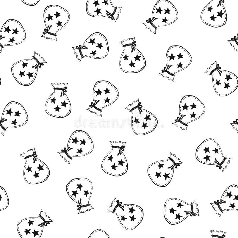 Mão sem emenda teste padrão tirado com malote e estrelas Ilustração preto e branco do vetor ilustração royalty free