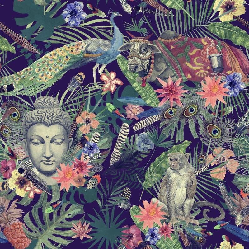 Mão sem emenda teste padrão tirado da aquarela com folhas, penas, flores, cabeça de buddha, pavão, macaco, vaca ilustração royalty free
