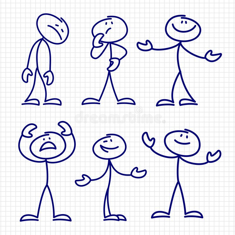 Mão simples figuras tiradas vetor ajustado da vara ilustração royalty free