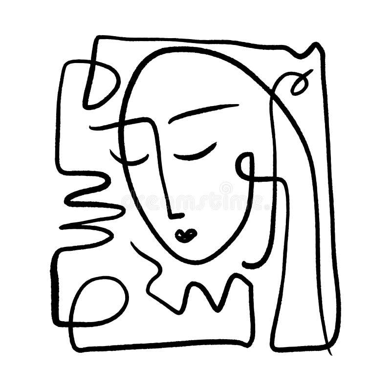 Mão simples linha na moda preto e branco tirada arte do retrato Composição abstrata ilustração royalty free
