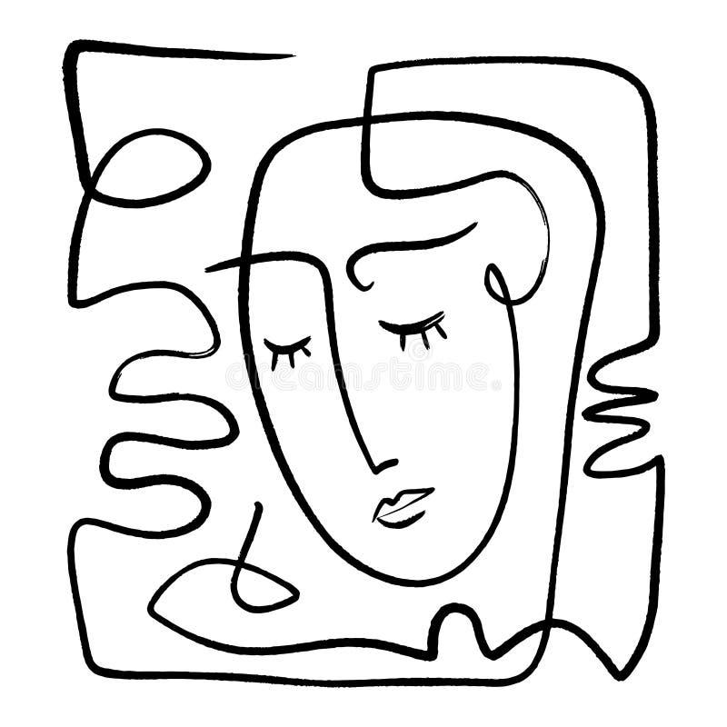 Mão simples linha na moda preto e branco tirada arte do retrato Composição abstrata ilustração do vetor