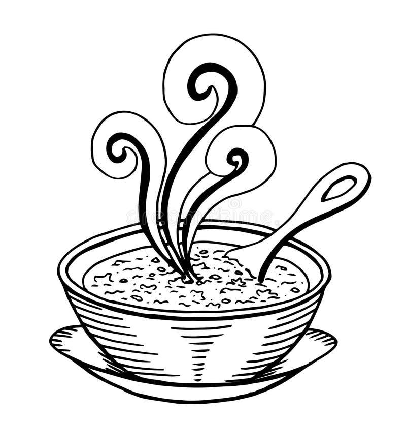Mão simples preto e branco garatuja tirada de uma bacia de sopa ilustração do vetor